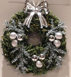 Miniature Dollhouse Wreath moss with silver ornaments ice