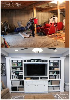 Basement Built In Entertainment Center - Before & After