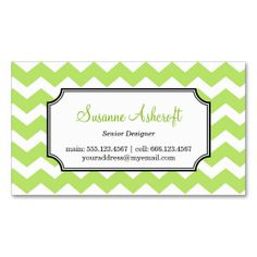 Apple green chevron business card green chevron business cards green chevron zigzag pattern stylish personal business card colourmoves Gallery