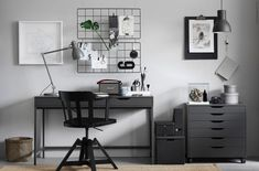 So make sure you design your home office exactly how you want from the perfect colors, . See more ideas about Desk, Home office decor and Home Office Ideas. Gray Home Offices, Ikea Home Office, Home Office Space, Home Office Design, Office Set, Office Spaces, Work Spaces, Office Ideas, Ikea Alex Desk