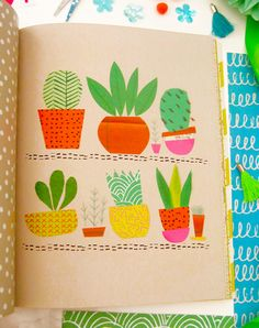 print & pattern blog - Cacti by lizzie lees from Collage Carnival
