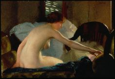 Nude, 1915 William McGregor Paxton Large image: HERE Detail William McGregor Paxton (June 22, 1869 – 1941) was an American Impressionist painter.Born in Baltimore, the Paxton family came to Newton Corner in the mid-1870s, where William's father James...