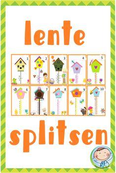 Splitsen splitshuizen lente 1 t/m 10 – Weg van onderwijs School Hacks, Montessori, Maya, Activities For Kids, Seasons, Education, Holiday Decor, Spring, Crowns