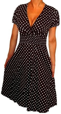 $39.99  Amazon.com: FUNFASH BLACK WHITE POLKA DOTS ROCKABILLY WRAP DRESS NEW Plus Size Made in USA Free Ship: Clothing
