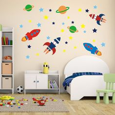 Boys Space Rockets Outer Space Wall Stickers Space Wall