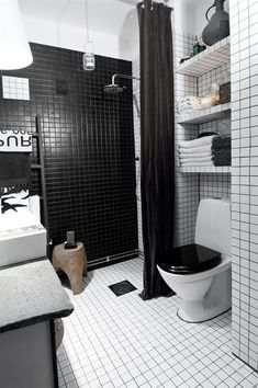 black and white bathroom.  stockholm apartment.