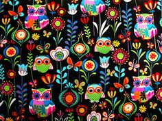 Owl Fabric by Handmade Stuffs Owl Wallpaper, Cute Wallpaper Backgrounds, Cellphone Wallpaper, Pattern Wallpaper, Cute Wallpapers, Phone Backgrounds, What's My Favorite Color, Whimsical Owl, Owl Fabric