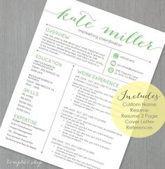 """This Resume Includes a CUSTOM NAME HEADER I create for you. The font is special and not available as a free download. The """"KATE resume template has a"""