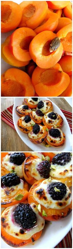 Roasted Apricots, with Mascarpone and Blackberry Drizzled with Honey by prouditaliancook via recipefavorite #Apricots #Blackberry #Mascarpone #Honey #Pistachio #Healthy #Easy