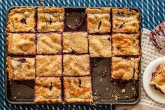Find the recipe for Blueberry Peach Slab Pie and other blueberry recipes at Epicurious.com