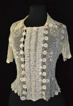 EXQUISITE ANTIQUE 1900'S VICTORIAN EDWARDIAN IRISH CROCHET LACE DRESS TOP BLOUSE | eBay