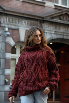 Nihon soft cozy sweaters in pure lambswool with a high collar. Autumn maroon sweater can be used in wintertime. Designer Mihaela Markovic had produced that handknit so you can wear it as casual sweater outfits.  Mihaela Markovic #fashiondiscovery #fashiondiscovery #Mihaela_Markovic #Sweater #fashion #style #soft_sweaters #cozy_sweater_outfits #autumn_sweater #winter_sweater #casual_sweater_outfits #designer_sweaters #knitted_sweater #handknit_sweaters