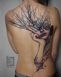 Artistic back piece by Artem Korobov