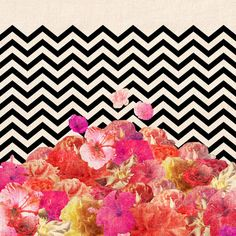 """Chevron Flora II Art Print. Love the dichotomy of """"natural"""" and """"unnatural"""" lines."""