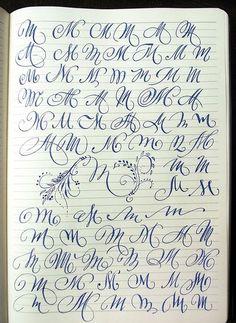 Majuscule M variants by Polish calligrapher Barbara Galinska on Behance Tattoo Lettering Design, Graffiti Lettering Fonts, Hand Lettering Tutorial, Hand Lettering Alphabet, Lettering Styles, Graffiti Letters Styles, Tattoo Designs, Capital Letters Calligraphy, Alphabet Capital Letters