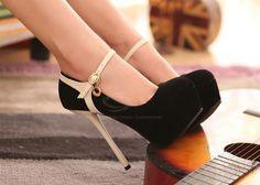 Black suede platform pumps with nude heel and strap. Tacchi Close-Up #Shoes #Tacones #Heels