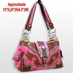 Brown and pink tooled western purse