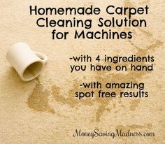 Easy Homemade Carpet Cleaning Solution for Machines HOT Water ~ 1 gallon of water 1 Tablespoon Dawn (or other dish soap) 1 1/2 Tablespoons White Vinegar 1/4 Cup 3% Peroxide  fill your machine's water reserve with HOT tap water,   as hot as you can get it from the tap.  Leave space for the other ingredients. add 1 tablespoon Dawn dish soap after the water for no bubbles! by Tyziggy22