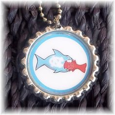 Necklace Pendant  UNC Tarheels Fish Eating NC by BrokenMessDesigns, $4.99