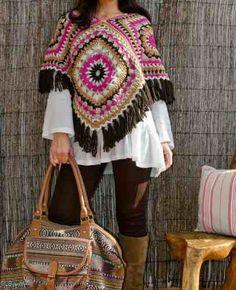 Poncho Tejidos Artesanal Crochet. Bufanda Chal Gorros - $ 350,00 un regalo ese precio