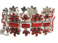 Navajo artist Alice Lister    Mediterranean coral stones combined with sterling silver