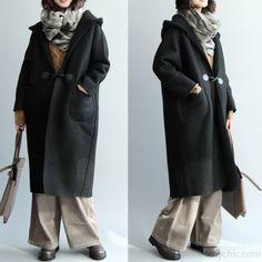 vintage black Wool Coat oversized hooded maxi coat vintage coats - Outwear