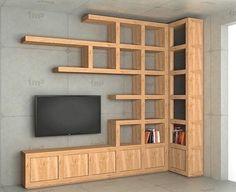 Smart home TV pole Corner Shelf Design, Bookshelf Design, Wall Shelves Design, Corner Bookshelves, Tv Unit Furniture Design, Home Decor Furniture, Diy Home Decor, Small House Design, Home Room Design