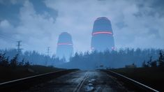 Scene inspired by Simon Stålenhag. Rendered in Unreal Engine 4 and created with Megascans. Fantasy Places, Sci Fi Fantasy, Cyberpunk City, Night Forest, Neon Aesthetic, Unreal Engine, Art Station, Environment Concept Art, Character Aesthetic