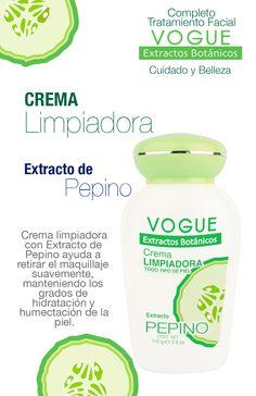 Crema Limpiadora con Extracto de Pepino VOGUE Extractos Botánicos Plaza, Facials, Cucumber, Cleanser, Tents, Street, Cream, Budget