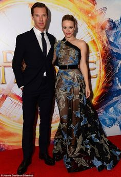 Side by side: The actress was joined by British co-star Benedict Cumberbatch on Monday evening