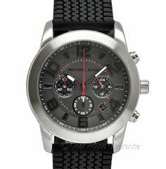 New Michael Kors 'Mercer' Mens Chronograph Watch, Gray Dial, Black Band Tire Tread