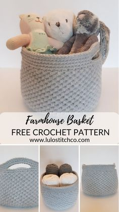 The most adorable Farmhouse basket you can make yourself! You can make these handy baskets in no tim Crochet Basket Pattern, Knit Basket, Crochet Baskets, Crochet Basket Tutorial, Crochet Home, Crochet Yarn, Doilies Crochet, Crochet Skirts, Farmhouse Baskets