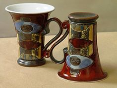 Pottery Set of Two Mugs, Wheel Thrown Red Ceramic Mugs with Unique Hand Painted Decoration -- Read more reviews of the product by visiting the link on the image. (Amazon affiliate link)