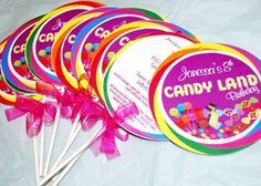 Creative candy land party invitations. by graciela