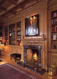 Continuing the tradition of world renowned Crowther of Syon Lodge Room Interior, Interior Design, Interior Ideas, Firewood Holder, English Interior, Oak Panels, Home Libraries, Fireplace Accessories, Wainscoting
