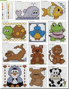 Lots of baby animals cross stitch patterns