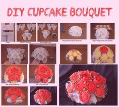 DIY Cupcake Bouquet #party #craft