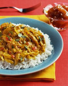 Curry powder, ginger, and other seasonings give this easy chicken dish excellent flavor, and the slow cooker makes the task nearly hands-free. Leftover Turkey Curry, Leftover Turkey Recipes, Leftovers Recipes, Turkey Leftovers, Leftover Chicken Curry, Dinner Recipes, Curry Chicken And Rice, Slow Cooker Chicken Curry, Curry Rice
