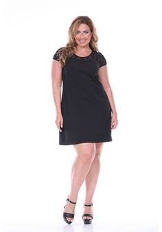 White Mark Black Lace Trim Plus Size Dress