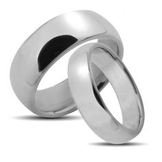 Tungsten Carbide Polished Classic His and Hers Wedding Band Set | Overstock.com- $84.99 for both