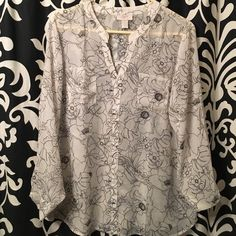 Floral blouse Black and white pattern blouse LOFT Tops Blouses