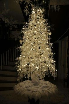 Silver White Christmas  Tree!!! Bebe'!!! Just beautiful!!!
