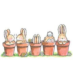 """Penny Black Rubber Stamp 2.5""""X5-Bunny Friends at Joann.com"""