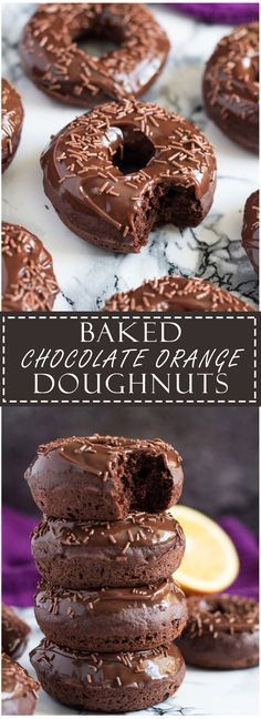 Learn how to make these delicious Baked Double Chocolate Orange Doughnuts from Marsha's Baking Addiction. Donuts were baked using the Wilton Donut Pan.