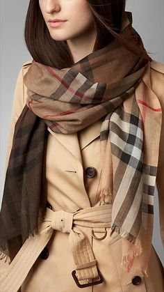 Burberry Camel Check Ombre Wool Silk Scarf - Directional check ombre scarf in lightweight wool silk gauze. Fringing at both ends. Discover the scarves collection at Burberry.com