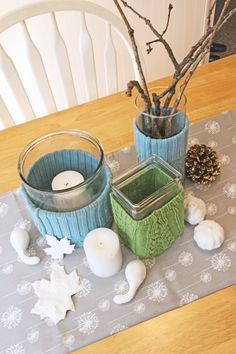 vase cozies from sweater sleeves