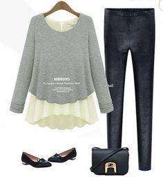 Free Shipping! 2013 autumn new European style fashion two of long-sleeved chiffon shirt 2 colors S XL women t shirt $18.99