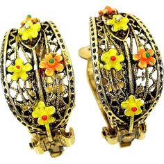 Art Earrings Half Hoop Filigree Floral Enamel Antiqued Gold Tone Clips