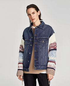 Image 2 of DENIM JACKET WITH CONTRASTING SLEEVES from Zara