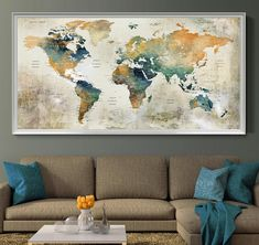 Push pin travel map of world, vintage map, push pin map, push pin wor World Map Wall Art, World Map Poster, Vintage Wall Art, Vintage Walls, Push Pin World Map, Grand Format, Watercolor Canvas, Large Wall Art, Frames